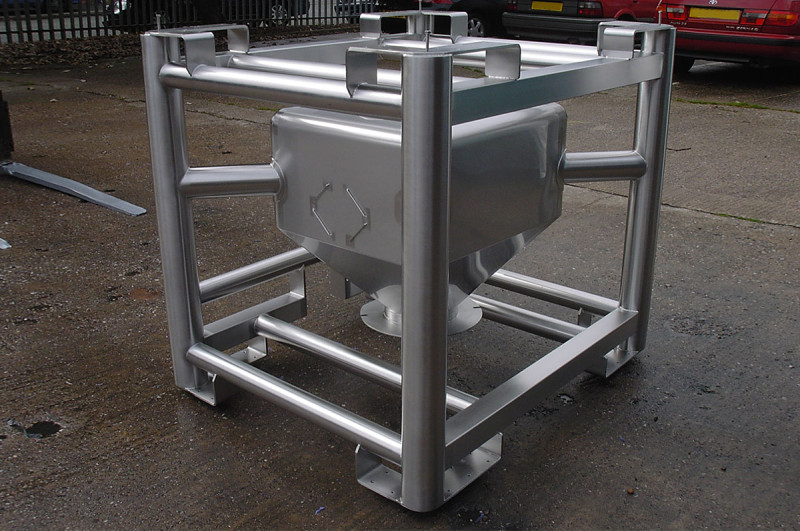 250 litre IBC in stainless steel framework